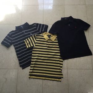 Lot of 3 RALPH LAUREN navy/stripe polo shirts S 8